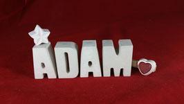 Beton, Steinguss Buchstaben 3D Deko Namen ADAM als Geschenk verpackt!