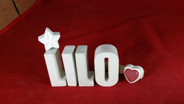 Beton, Steinguss Buchstaben 3D Deko Namen LILO als Geschenk verpackt mit Stern und Herzklammer!