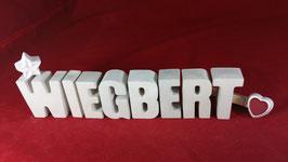 Beton, Steinguss Buchstaben 3D Deko Namen WIEGBERT als Geschenk verpackt!