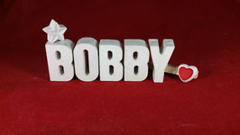 Beton, Steinguss Buchstaben 3D Deko Namen BOBBY als Geschenk verpackt!