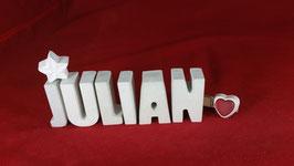 Beton, Steinguss Buchstaben 3D Deko Namen JULIAN als Geschenk verpackt!