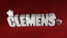 Beton, Steinguss Buchstaben 3D Deko Namen CLEMENS als Geschenk verpackt!