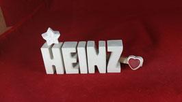 Beton, Steinguss Buchstaben 3D Deko Namen HEINZ als Geschenk verpackt!