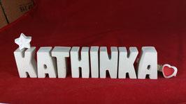 Beton, Steinguss Buchstaben 3D Deko Namen KATHINKA als Geschenk verpackt mit Stern und Herzklammer!