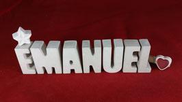 Beton, Steinguss Buchstaben 3D Deko Namen EMANUEL als Geschenk verpackt!