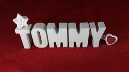 Beton, Steinguss Buchstaben 3D Deko Namen TOMMY als Geschenk verpackt!