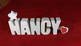 Beton, Steinguss Buchstaben 3D Deko Namen NANCY als Geschenk verpackt mit Stern und Herzklammer!