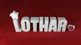 Beton, Steinguss Buchstaben 3D Deko Namen LOTHAR als Geschenk verpackt!