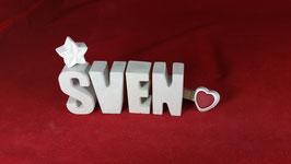 Beton, Steinguss Buchstaben 3D Deko Namen SVEN als Geschenk verpackt!