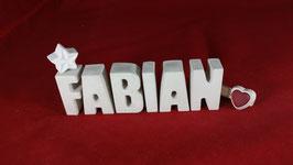 Beton, Steinguss Buchstaben 3D Deko Namen FABIAN als Geschenk verpackt!