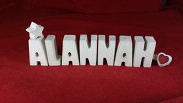 Beton, Steinguss Buchstaben 3D Deko Stern Namen ALANNAH als Geschenk verpackt!