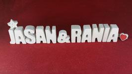 Beton, Steinguss Buchstaben 3D Deko Stern Namen JASAN & RANIA als Geschenk verpackt!