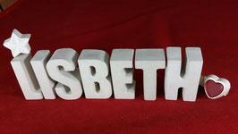 Beton, Steinguss Buchstaben 3D Deko Namen LISBETH als Geschenk verpackt mit Stern und Herzklammer!