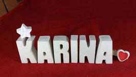 Beton, Steinguss Buchstaben 3D Deko Namen KARINA als Geschenk verpackt mit Stern und Herzklammer!