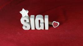 Beton, Steinguss Buchstaben 3D Deko Namen SIGI als Geschenk verpackt!