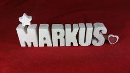 Beton, Steinguss Buchstaben 3D Deko Namen MARKUS als Geschenk verpackt!