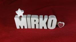 Beton, Steinguss Buchstaben 3D Deko Namen MIRKO als Geschenk verpackt!