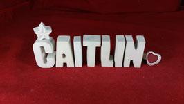 Beton, Steinguss Buchstaben 3D Deko Namen CAITLIN als Geschenk verpackt!