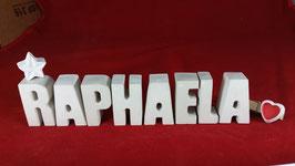 Beton, Steinguss Buchstaben 3D Deko Namen RAPHAELA als Geschenk verpackt mit Stern und Herzklammer!