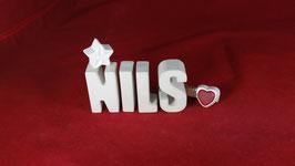 Beton, Steinguss Buchstaben 3D Deko Namen NILS als Geschenk verpackt!