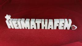 Beton, Steinguss Buchstaben 3D Deko Stern Namen HEIMATHAFEN als Geschenk verpackt!