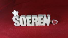 Beton, Steinguss Buchstaben 3D Deko Namen SOEREN als Geschenk verpackt!