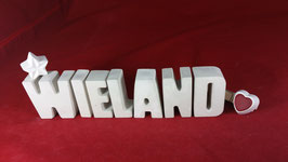 Beton, Steinguss Buchstaben 3D Deko Namen WIELAND als Geschenk verpackt!