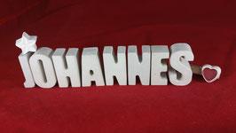 Beton, Steinguss Buchstaben 3D Deko Namen JOHANNES als Geschenk verpackt!
