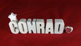 Beton, Steinguss Buchstaben 3D Deko Namen CONRAD als Geschenk verpackt!