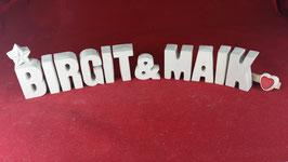 Beton, Steinguss Buchstaben 3D Deko Stern Namen BIRGIT & MAIK als Geschenk verpackt!