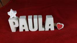 Beton, Steinguss Buchstaben 3D Deko Namen PAULA als Geschenk verpackt mit Stern und Herzklammer!