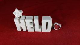 Beton, Steinguss Buchstaben 3D Deko Stern Namen HELD als Geschenk verpackt!