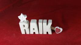 Beton, Steinguss Buchstaben 3D Deko Namen RAIK als Geschenk verpackt!