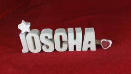 Beton, Steinguss Buchstaben 3D Deko Namen JOSCHA als Geschenk verpackt!