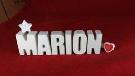 Beton, Steinguss Buchstaben 3D Deko Namen MARION als Geschenk verpackt mit Stern und Herzklammer!