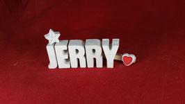 Beton, Steinguss Buchstaben 3D Deko Namen JERRY als Geschenk verpackt!