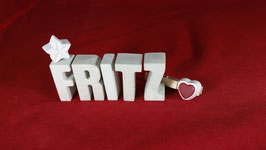 Beton, Steinguss Buchstaben 3D Deko Namen FRITZ als Geschenk verpackt!