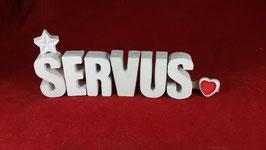 Beton, Steinguss Buchstaben 3D Deko Stern Namen SERVUS als Geschenk verpackt!
