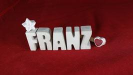 Beton, Steinguss Buchstaben 3D Deko Namen FRANZ als Geschenk verpackt!