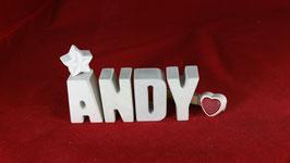 Beton, Steinguss Buchstaben 3D Deko Namen ANDY als Geschenk verpackt!