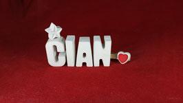 Beton, Steinguss Buchstaben 3D Deko Namen CIAN als Geschenk verpackt!