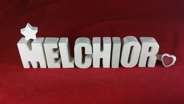 Beton, Steinguss Buchstaben 3D Deko Namen MELCHIOR als Geschenk verpackt!