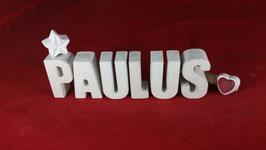 Beton, Steinguss Buchstaben 3D Deko Namen PAULUS als Geschenk verpackt!