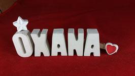 Beton, Steinguss Buchstaben 3D Deko Namen OXANA als Geschenk verpackt mit Stern und Herzklammer!