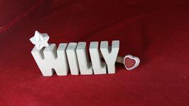 Beton, Steinguss Buchstaben 3D Deko Namen WILLY als Geschenk verpackt!