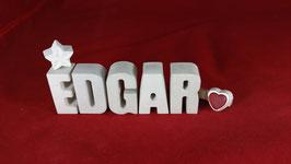 Beton, Steinguss Buchstaben 3D Deko Namen EDGAR als Geschenk verpackt!