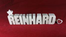 Beton, Steinguss Buchstaben 3D Deko Namen REINHARD als Geschenk verpackt!