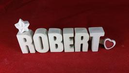Beton, Steinguss Buchstaben 3D Deko Namen ROBERT als Geschenk verpackt!