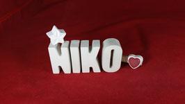 Beton, Steinguss Buchstaben 3D Deko Namen NIKO als Geschenk verpackt!