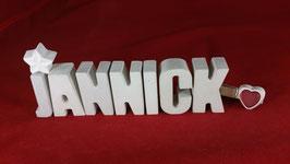 Beton, Steinguss Buchstaben 3D Deko Namen JANNICK als Geschenk verpackt!
